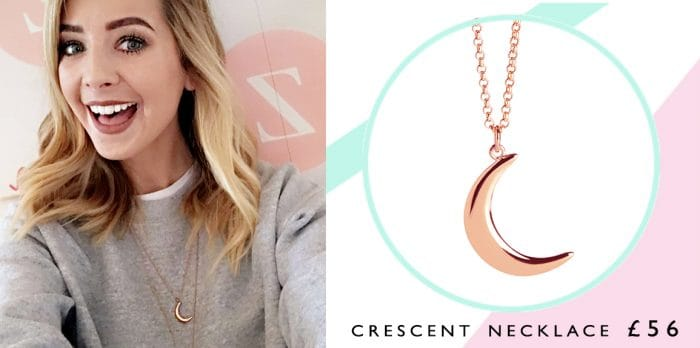 Get The Zoella Look with the Muru Crescent Rose Gold Necklace