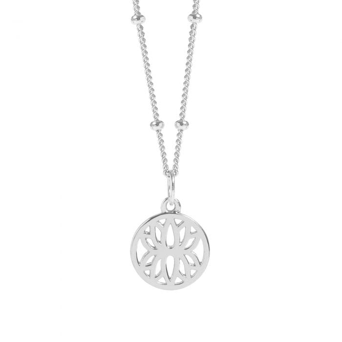 Silver Mini Lotus Flower Necklace with Beaded Chain, £54