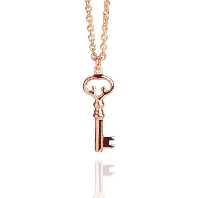 AMBITION Old Key Necklace Rose Gold