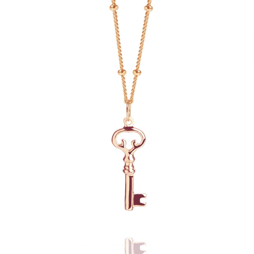 9ee1bc52a509b8 Rose Gold Key Necklace With Bead Chain | Rose Gold Vermeil Necklaces ...