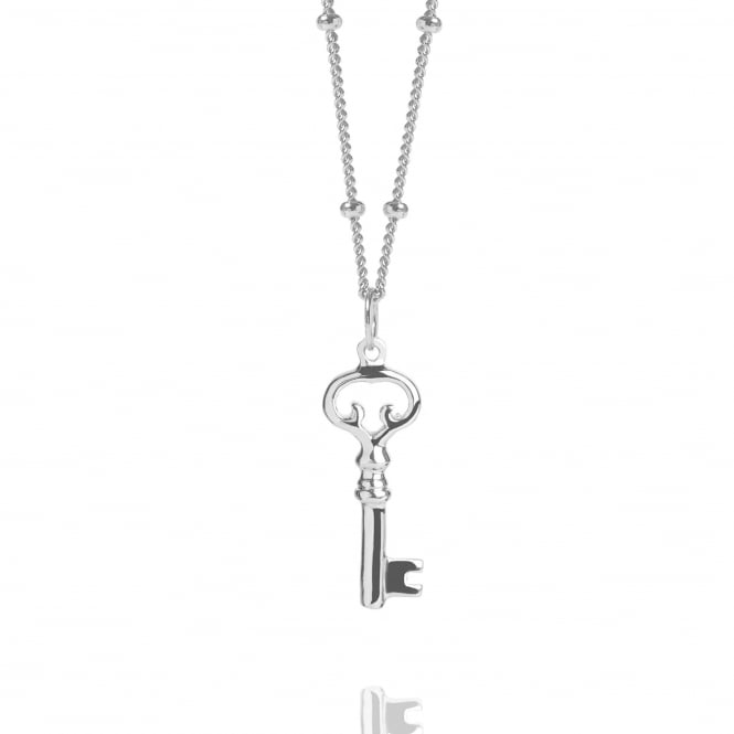 Ambition Silver Key Necklace With Bead Chain