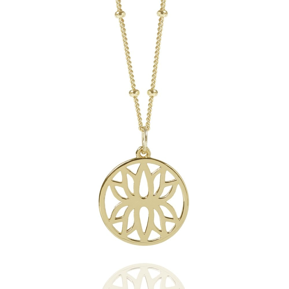 e7b9f1991131bf Gold Lotus Flower Necklace With Bead Chain | Gold Vermeil Necklaces ...