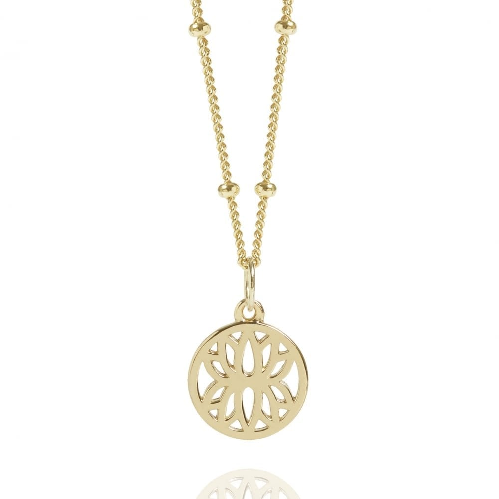 99ac014685f1c6 Gold Mini Lotus Flower Necklace With Bead Chain | Gold Vermeil ...