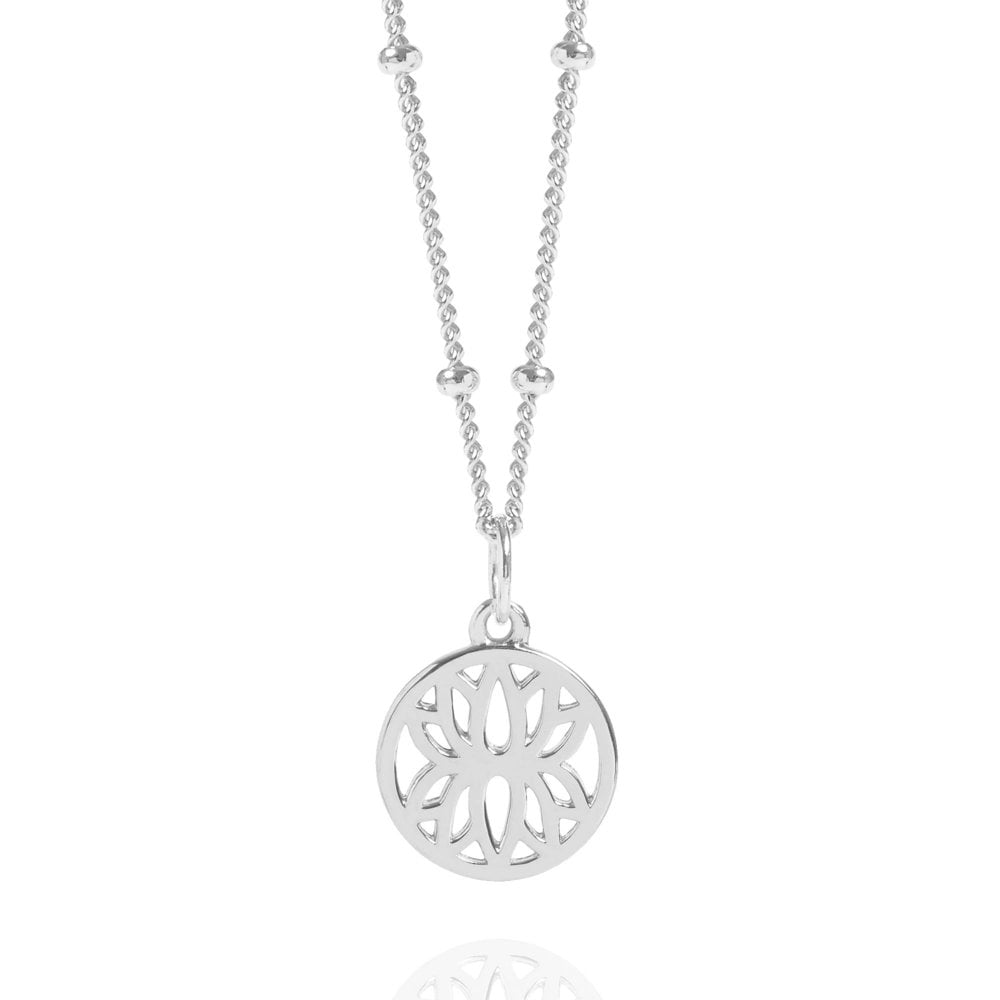 Silver Mini Lotus Flower Necklace With Bead Chain Sterling Silver