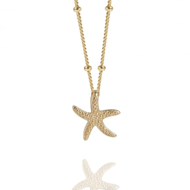 CALM & RENEWAL Gold Starfish Necklace With Bead Chain