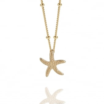 Gold Starfish Necklace With Bead Chain