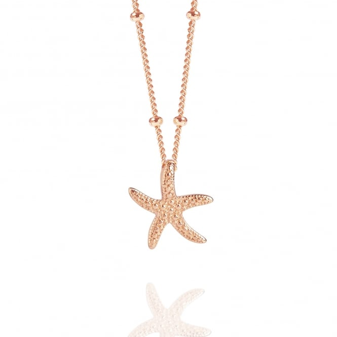 Calm & Renewal Rose Gold Starfish Necklace With Bead Chain