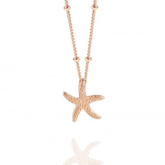 Rose Gold Starfish Necklace With Bead Chain