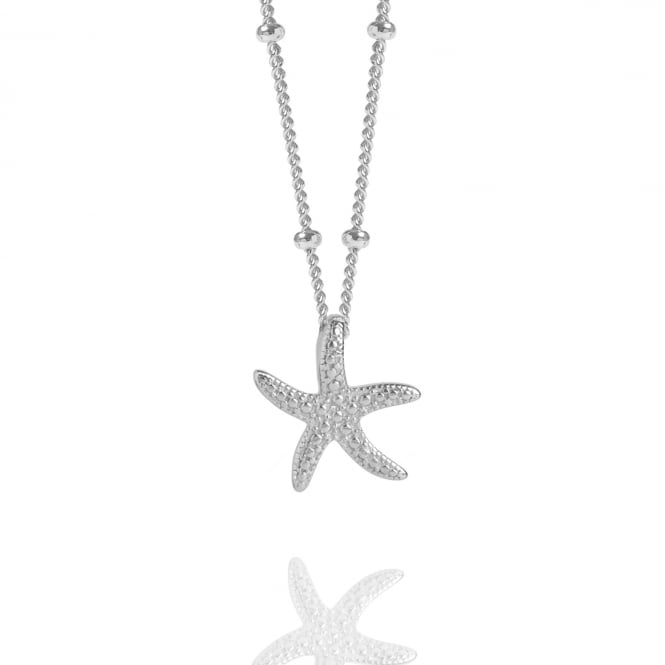 CALM & RENEWAL Silver Starfish Necklace With Bead Chain