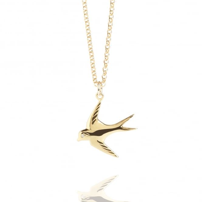 Diamond Swallow Necklace Gold