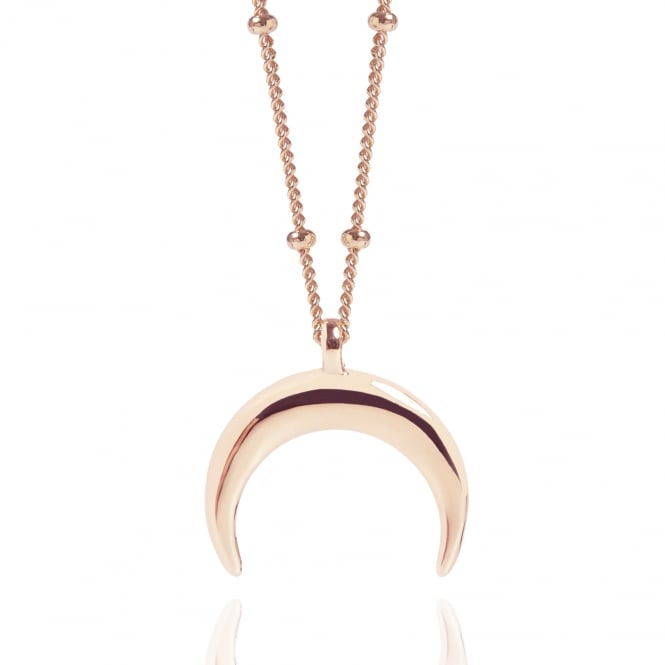 Female Influence Rose Gold Drop Crescent Moon Necklace With Bead Chain