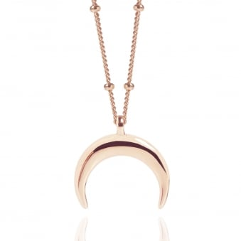 Rose Gold Drop Crescent Moon Necklace With Bead Chain
