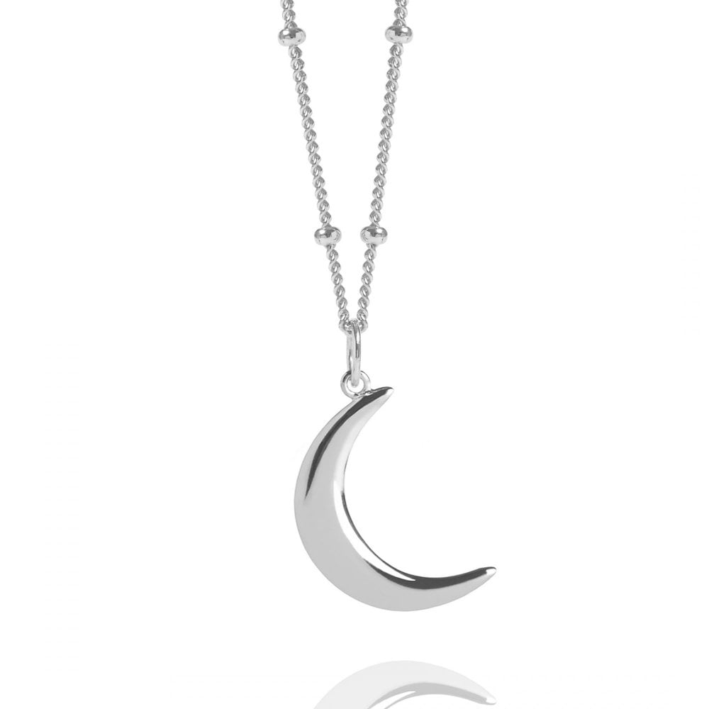 8ffcfbaaffcc6 Silver Crescent Moon Necklace With Bead Chain