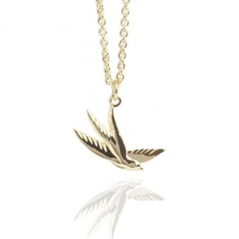 Swallow Charm Necklace Gold