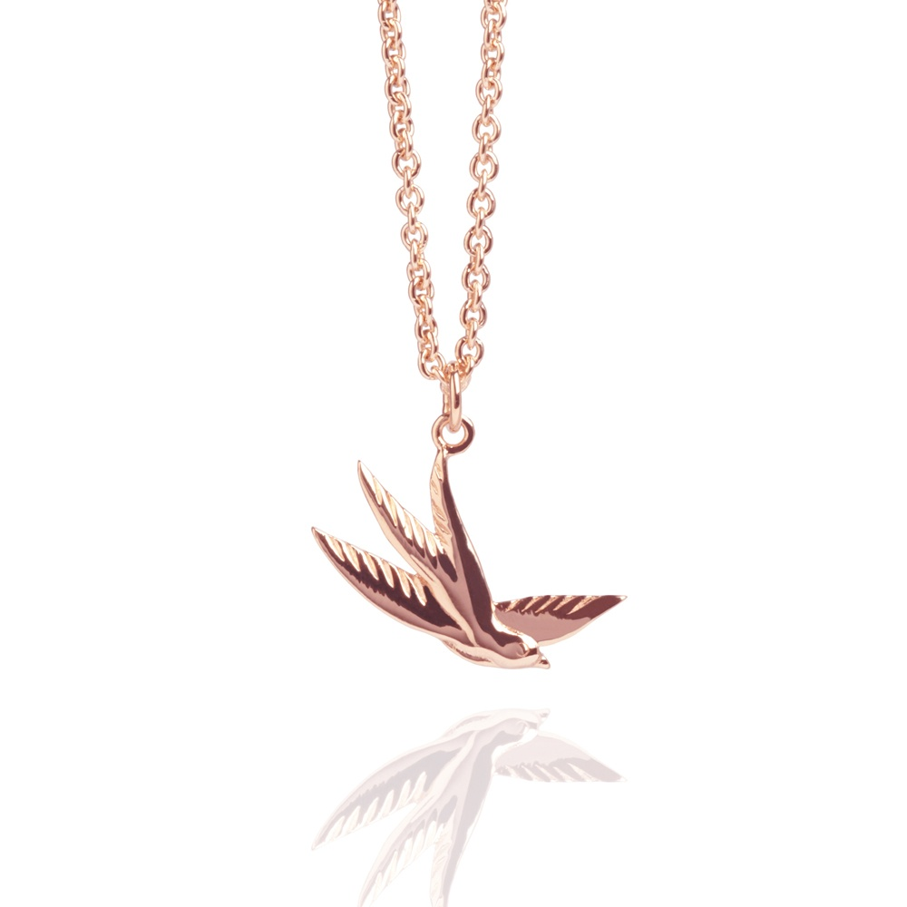 Charm necklace rose gold swallow charm necklace rose gold aloadofball Choice Image