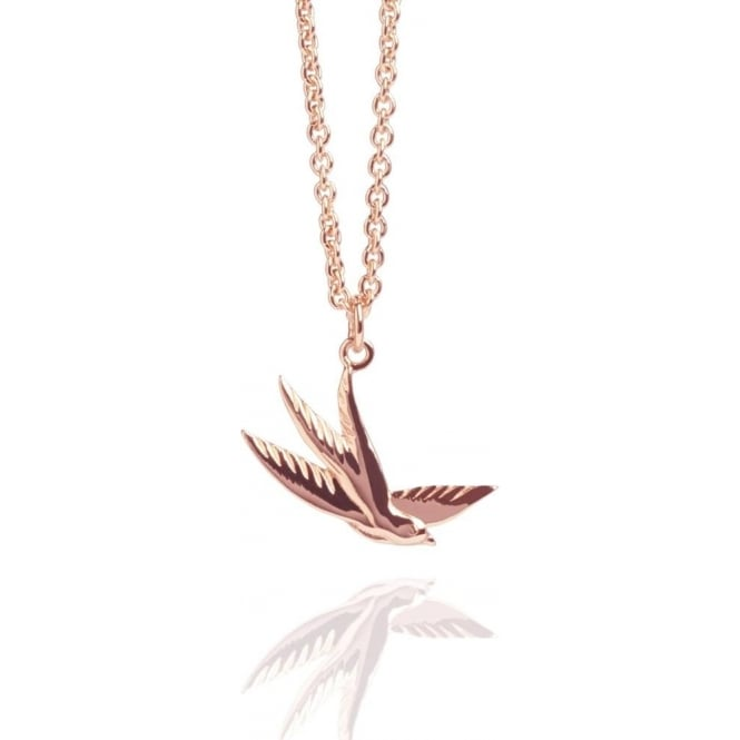 Freedom Swallow Charm Necklace Rose Gold