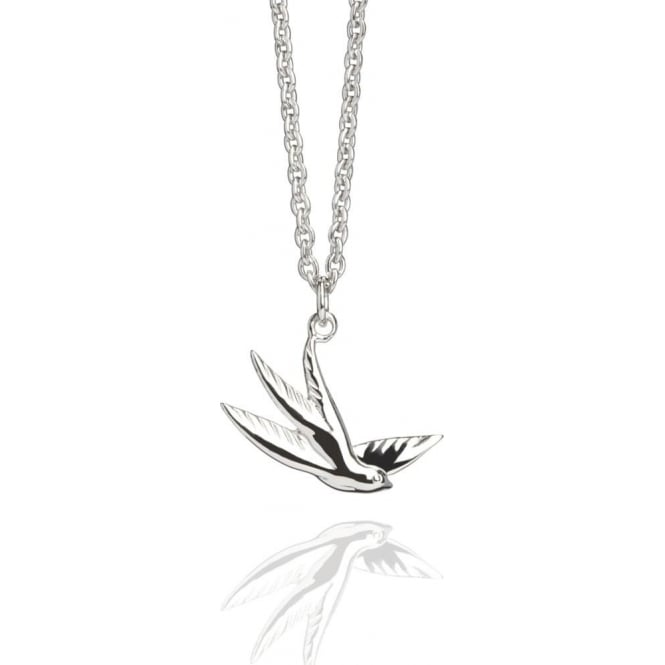 Freedom Swallow Charm Necklace Silver