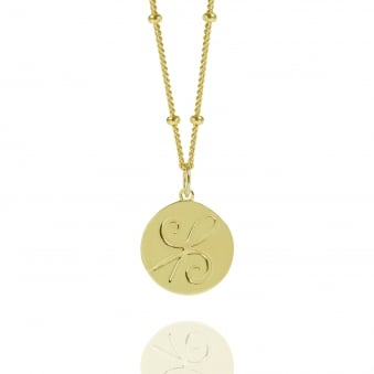 Gold Friendship Coin Necklace With Bead Chain