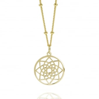 Gold Mini Prosperity Dreamcatcher Necklace With Bead Chain
