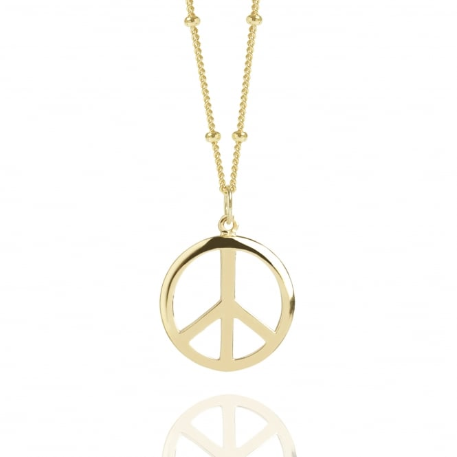 Gold Peace Sign Necklace With Bead Chain