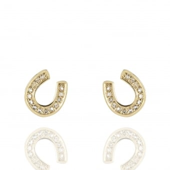 Horseshoe Topaz Stud Earrings Gold
