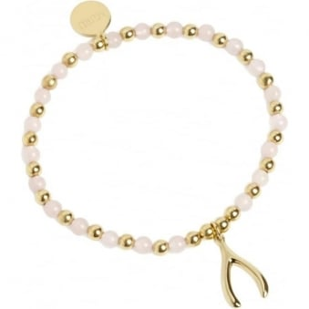 Wishbone Bracelet Gold Vermeil and Rose Quartz
