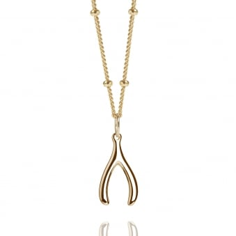 Gold Mini Wishbone Charm Necklace With Bead Chain