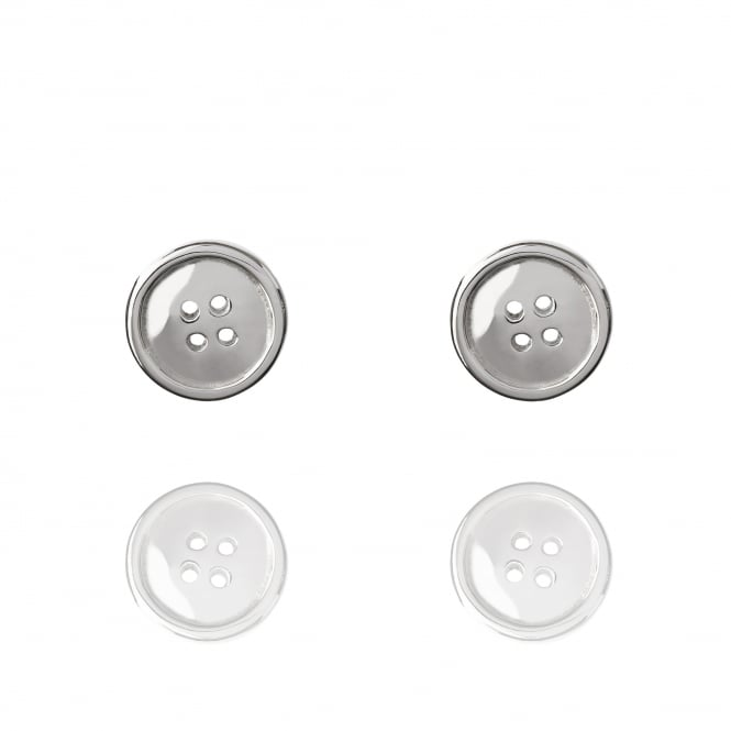 GOOD LUCK Lucky Button Stud Earrings Silver