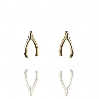 Wishbone Stud Earrings Gold