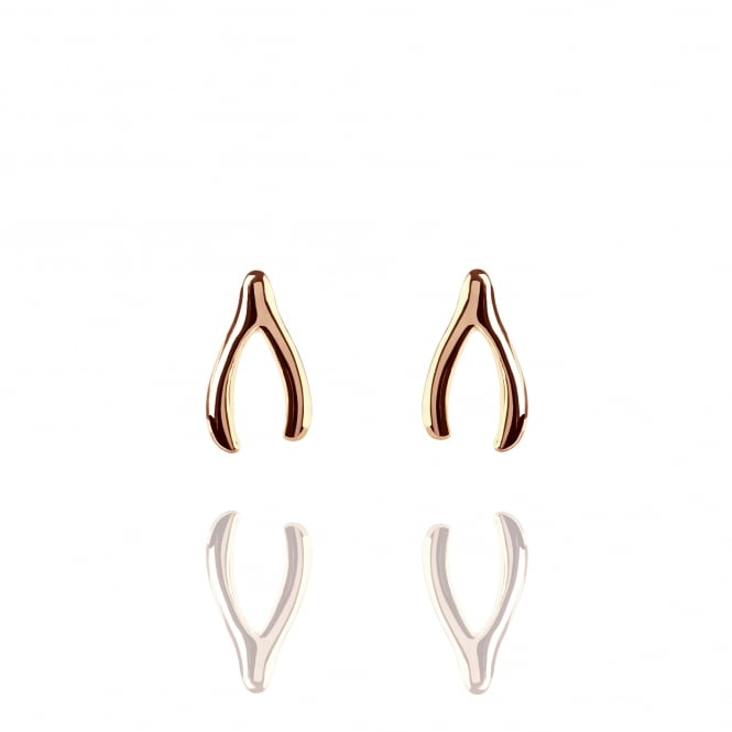 Good Luck Wishbone Stud Earrings Rose Gold