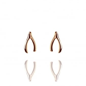 Wishbone Stud Earrings Rose Gold