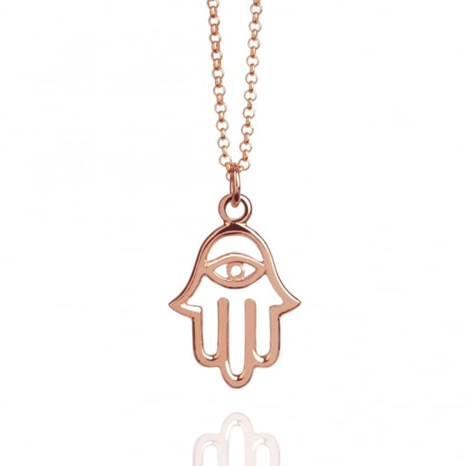 Protection Hamsa Hand Necklace Rose Gold (Long)