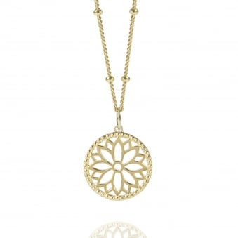 Gold Purity Mandala Charm Necklace With Beaded Chain
