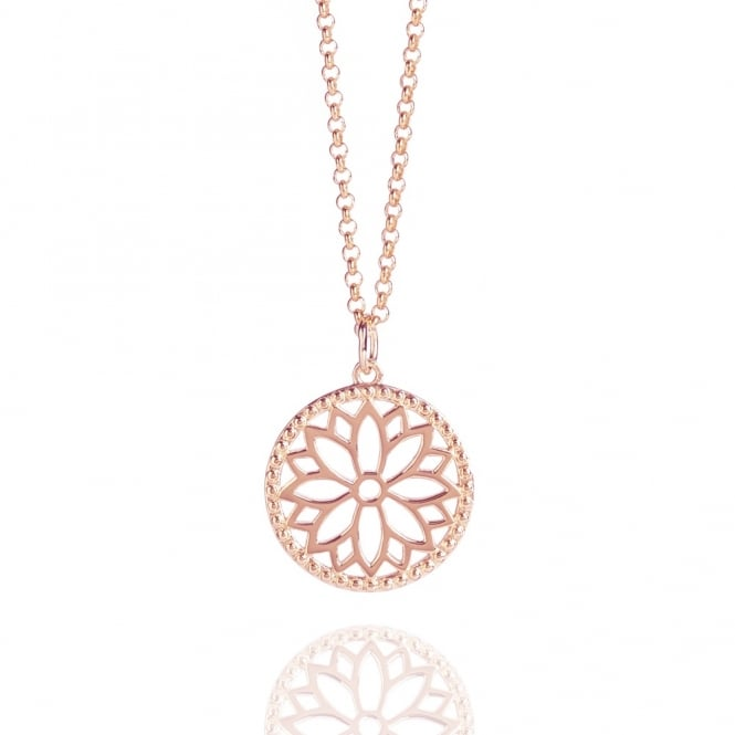 Health & Happiness Purity Mandala Charm Necklace Rose Gold (Midi-length)
