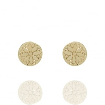 Purity Mandala Coin Stud Earrings Gold