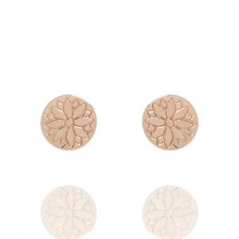 Purity Mandala Coin Stud Earrings Rose Gold