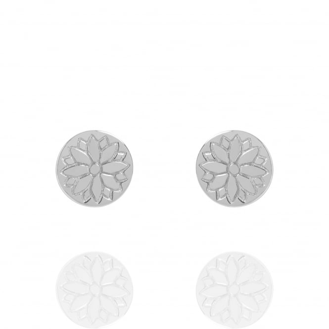 HEALTH & HAPPINESS Purity Mandala Coin Stud Earrings Silver