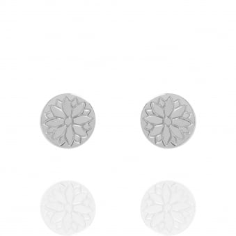 Purity Mandala Coin Stud Earrings Silver
