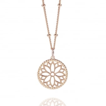 Rose Gold Purity Mandala Charm Necklace With Beaded Chain
