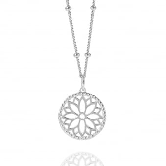 Silver Purity Mandala Charm Necklace With Beaded Chain