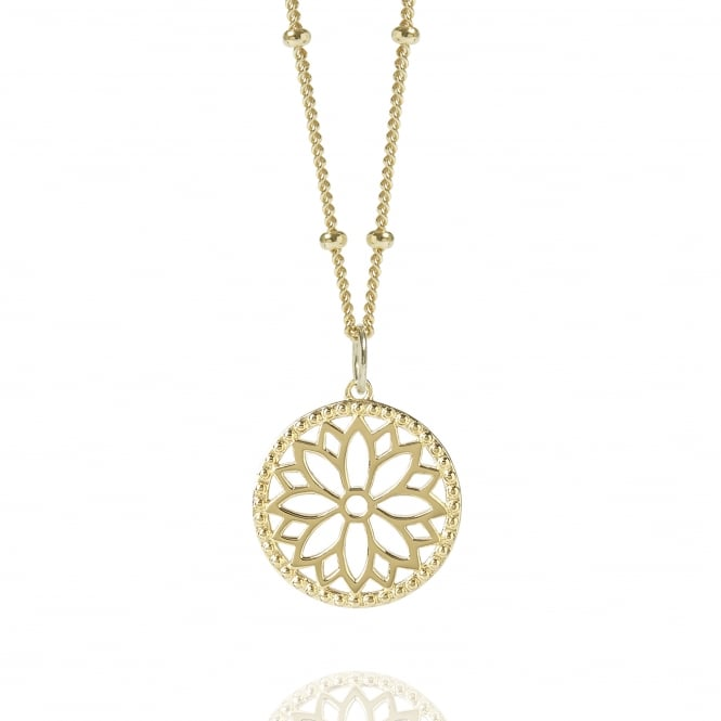 Health & Happiness Gold Purity Mandala Charm Necklace With Beaded Chain