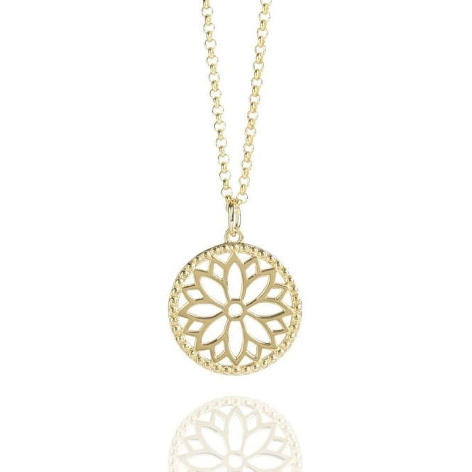 Health & Happiness Purity Mandala Charm Necklace Gold