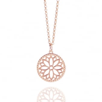 Purity Mandala Charm Necklace Rose Gold (Midi-length)