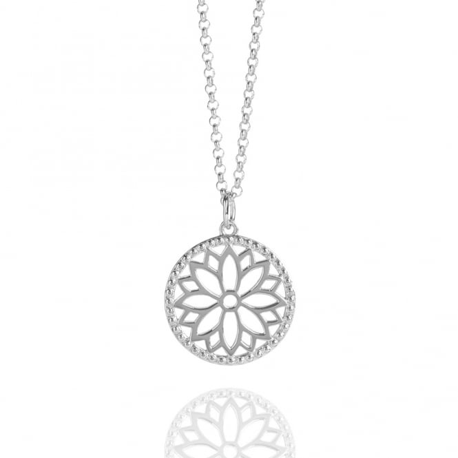 Health & Happiness Purity Mandala Charm Necklace Silver (Midi-length)