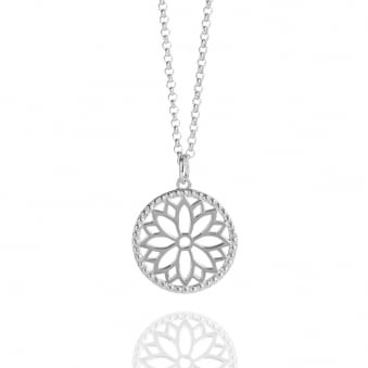 Purity Mandala Charm Necklace Silver (Midi-length)