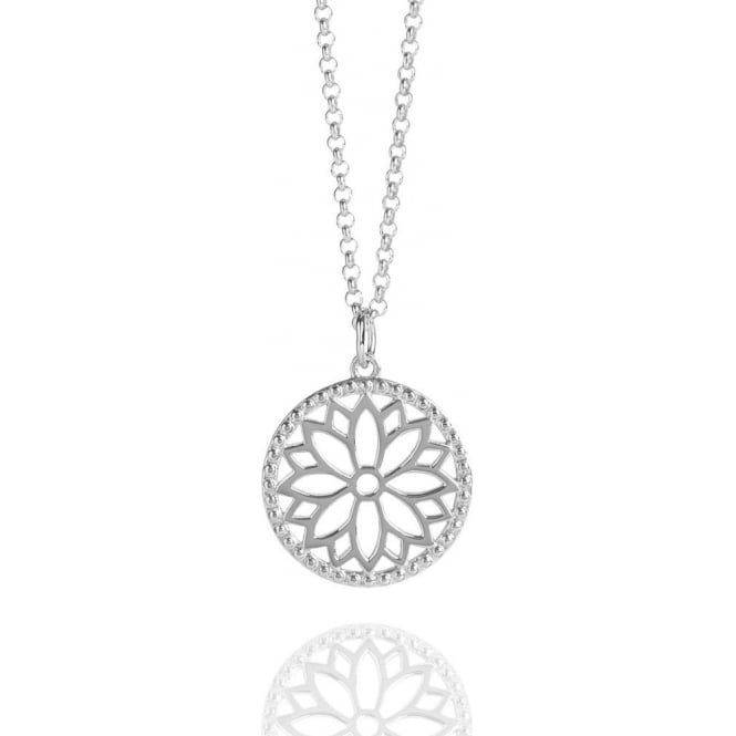 Health & Happiness Purity Mandala Charm Necklace Silver