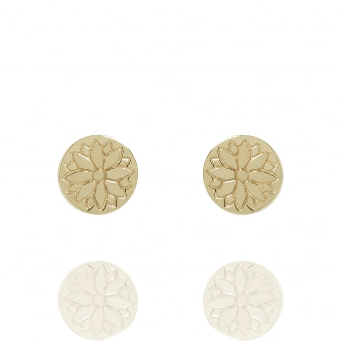 Health & Happiness Purity Mandala Coin Stud Earrings Gold