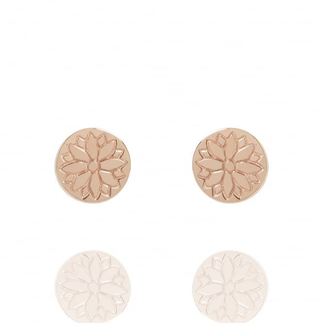 Health & Happiness Purity Mandala Coin Stud Earrings Rose Gold