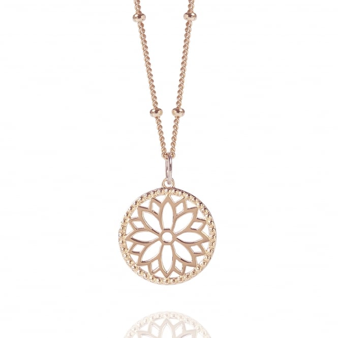 Health & Happiness Rose Gold Purity Mandala Charm Necklace With Beaded Chain