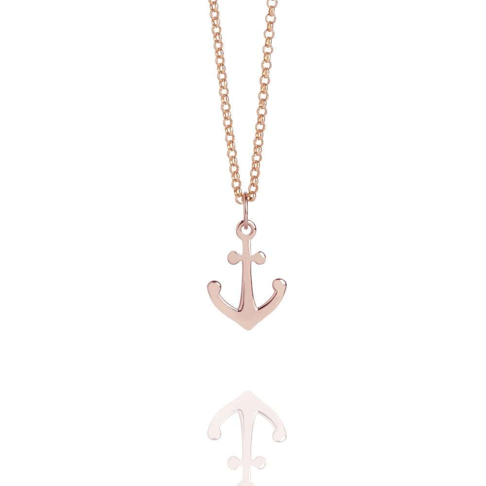 Mini anchor charm necklace rose gold rose gold vermeil necklaces mini anchor charm necklace rose gold aloadofball Choice Image